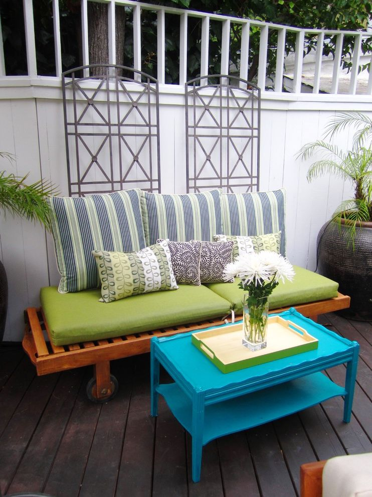 Furniture Stores in Des Moines   Eclectic Deck  and Container Plants Deck Decorative Pillows Metal Trellis Outdoor Cushions Patio Furniture Potted Plants Throw Pillows Turquoise Table
