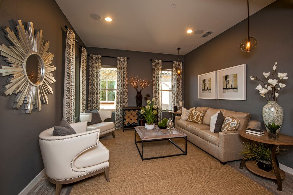 Furniture Stores in Flagstaff Az with Contemporary Living Room Also Beige Patterned Curtain Beige Sofa Brown Wall Industrial Coffee Table Pendant Light Sisal Rug Sunburst Mirror White Leather Armchair Wood and Metal Coffee Table Wood Side Table