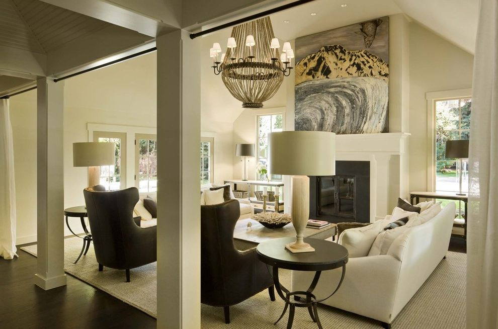 Furniture Stores in Flagstaff Az with Transitional Living Room Also Art Chandelier Fireplace French Window Leather Chair Round Side Table Rug Side Table Sideboard Sisal Rug Sofa Table Lamp White Sofa Wood Floor