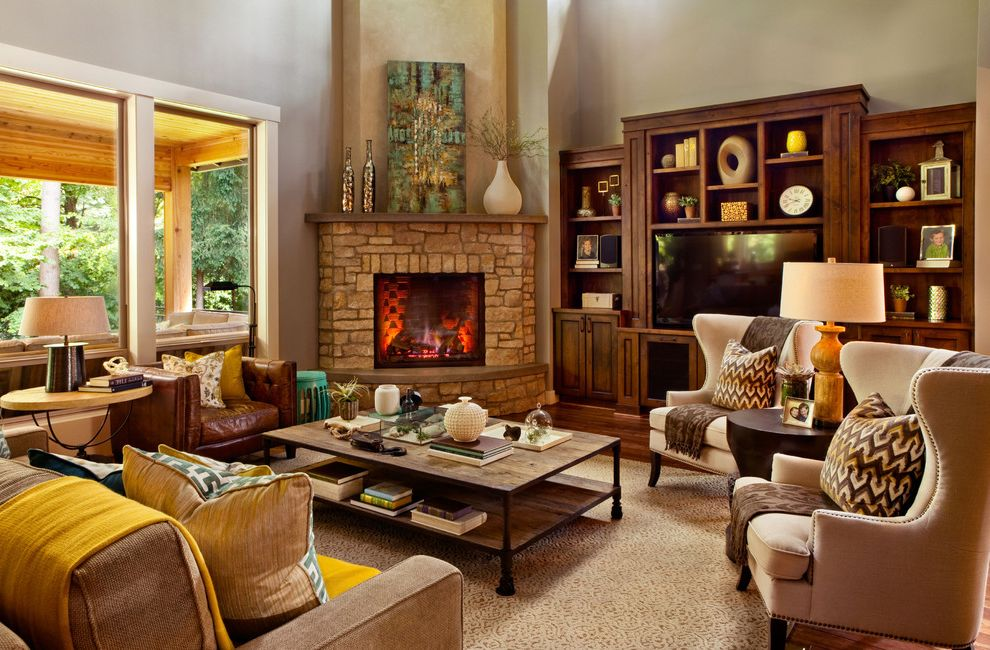 Furniture Stores in Jackson Ms with Transitional Living Room Also Corner Fireplace Fireplace Greek Key Mantel Media Cabinet Plasma Tv Reclaimed Wood Coffee Table Sofa Stone Fireplace Throw Throw Pillow Wingback Chair