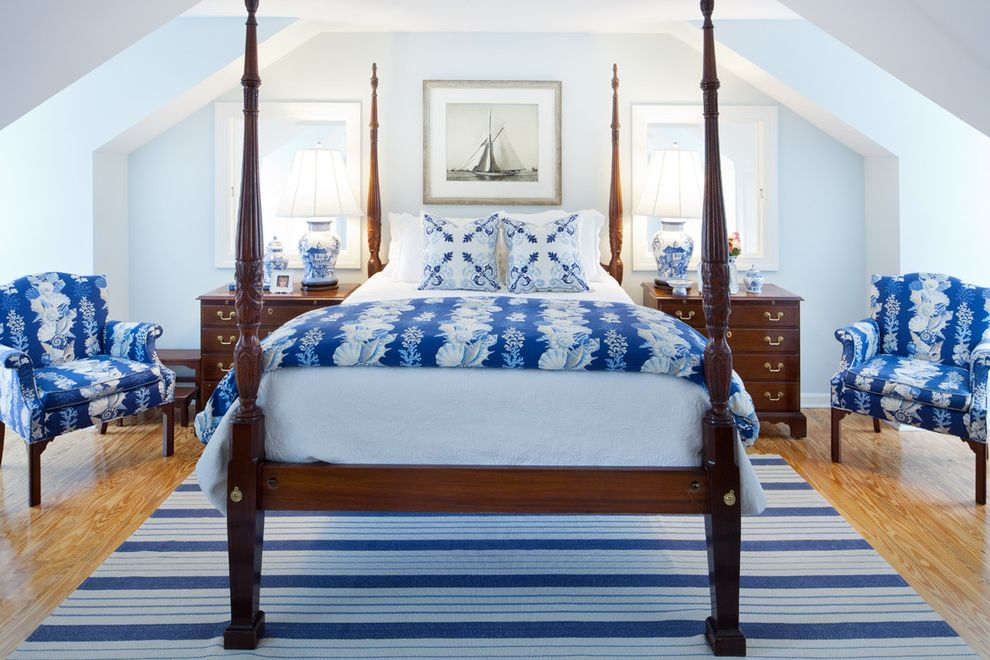 Furniture Stores in Lexington Ky   Traditional Bedroom Also Blue and White Dark Stained Wood Delftware Four Poster Bed Light Blue Nightstands Pillow Sail Boat Striped Area Rug Vaulted Ceiling Wood Floor