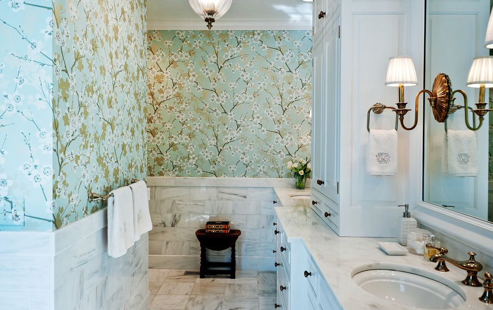 Furniture Stores in Nashville Tn   Traditional Bathroom Also Built in Cabinets Ceiling Light Cherry Blossom Marble Counters Marble Floor Marble Tile Floor Marble Wainscot Mirror Raised Panel Woodwork Schumacher Wallpaper Tile Walls Wall Sconce Wallpaper