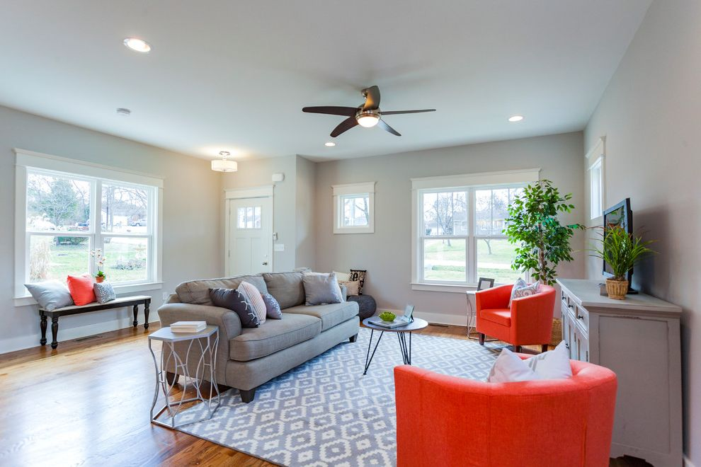Furniture Stores in Nashville Tn   Transitional Living Room Also California Bungalow Ceiling Fan Fresno Gray Sofa Gray Walls Gray White Carpet Large Windows Metal Side Table Natural Light Orange Chair Recessed Lighting