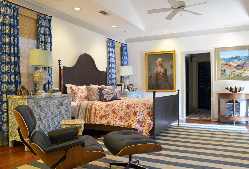 Furniture Stores in Odessa Tx with Eclectic Bedroom Also Art Bedding Blue Bold Bone Inlay Ceiling Fan Color Curtains Dresser Eames Chair Iron Bed Stripe Rug