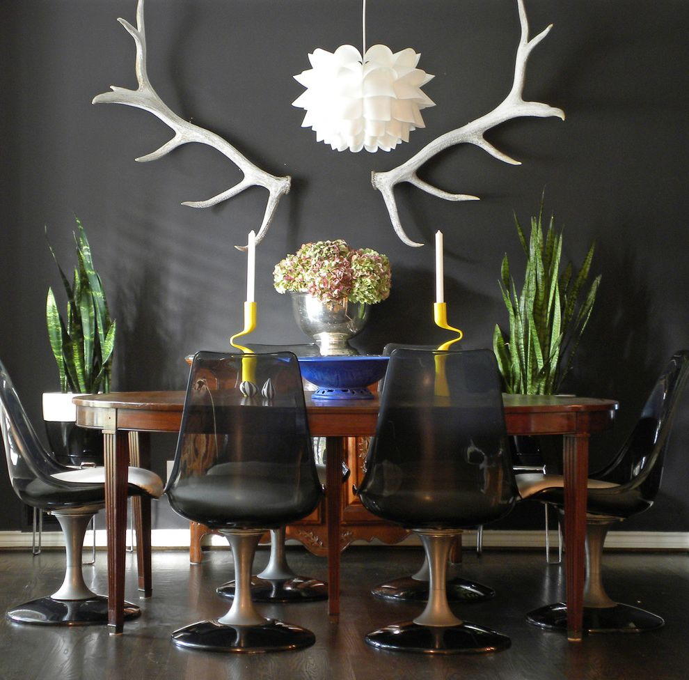 Furniture Stores in Odessa Tx with Eclectic Dining Room Also Antlers Black Wall Chair Dining Dining Chairs Dining Table Eclectic Indoor Plants Mix Modern Modern Chandelier Modern Dining Chairs Painted Walls Pendant Lighting Tulip Chairs