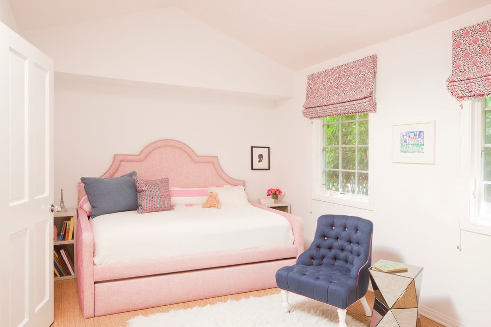 Furniture Stores in Santa Monica   Beach Style Kids Also Blue Tufted Chair Daybed Mirrored Side Table Pink Bed Roman Shade Upholstered Headboard Vaulted Ceiling White Area Rug