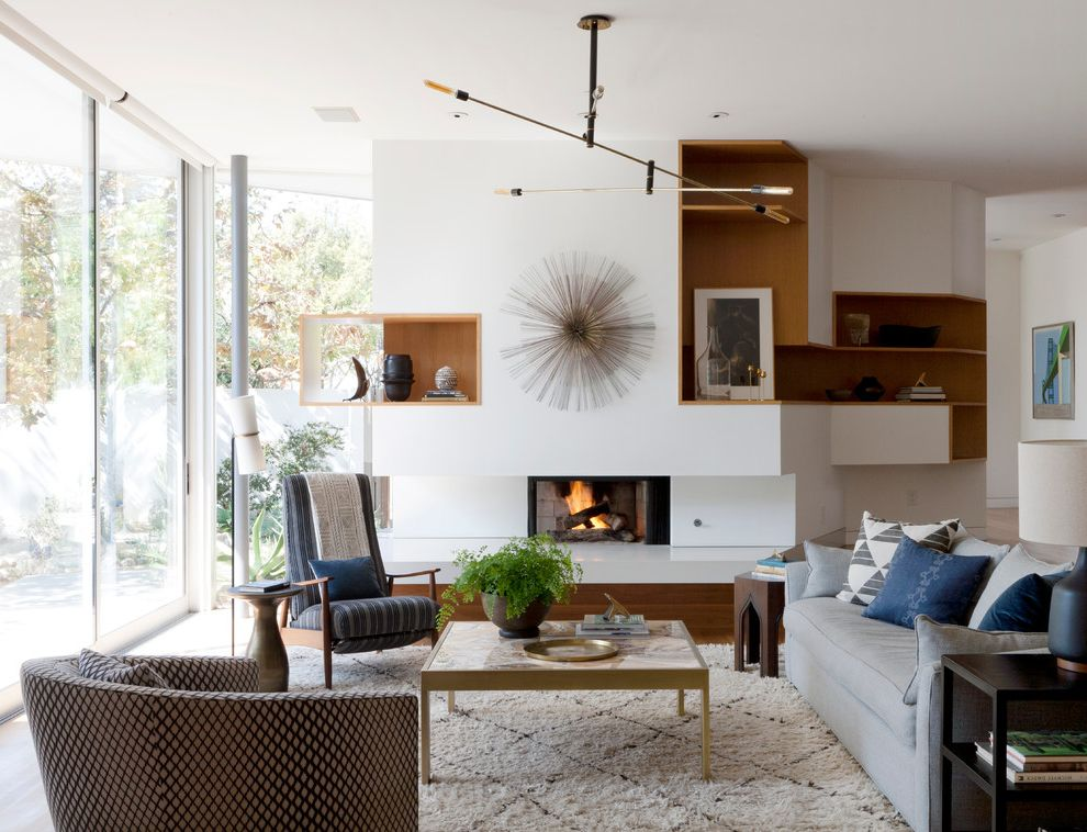 Furniture Stores in Santa Monica   Modern Living Room  and Brass Brass Coffee Table California Modern Custom Fireplace Gray Couch Lighting Fixture Living Room Modern Rustic Moroccan Rug Santa Monica Textiles Windows
