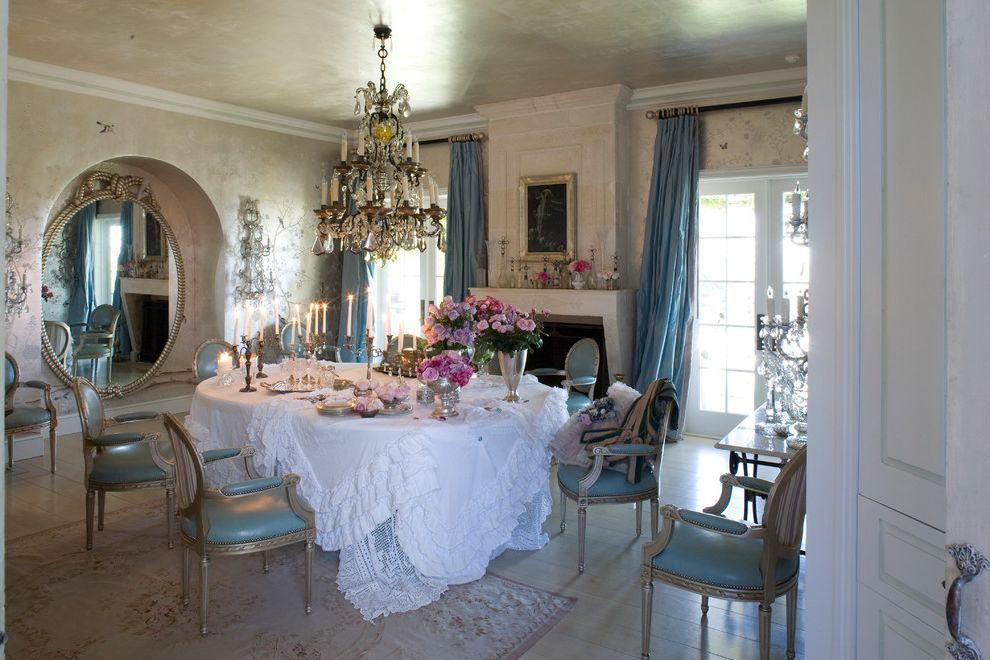 Furniture Stores in Santa Monica   Shabby Chic Style Dining Room  and Aubasson Rug Chandelier Dining Tables Elegant Formal Lace Layers Petticoat Ruffles Shabby Chic Silk Drapes Tablecloth Upholstered Dining Chair Vintage Wallpaper