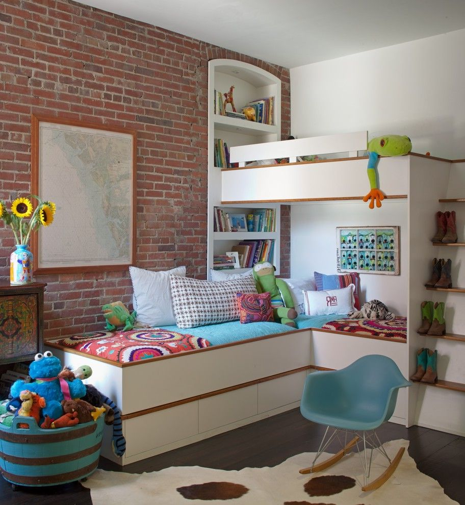 Furniture Stores in Savannah with Industrial Kids  and Brick Wall Built in Bookcase Bunk Bed Childrens Room Ladder Map Modern Bunk Bed Rocking Chair Rug Wood Floor
