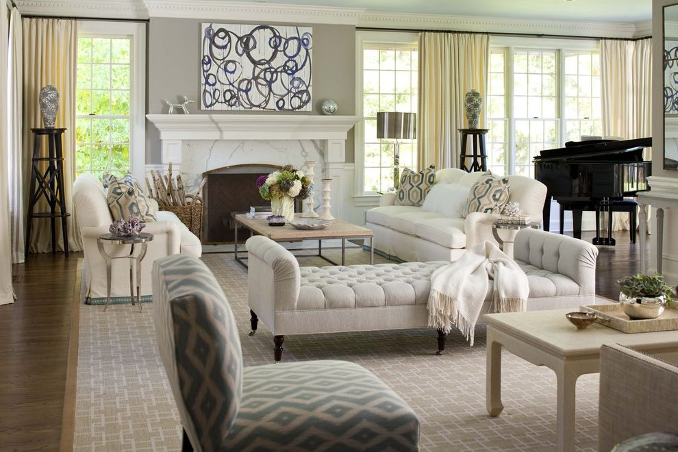 Furniture Stores in Stamford Ct   Traditional Living Room  and Abstract Art Chaise Daybed Diamonds Fireplace Geek Key Rug Global Prints Jeff Koons Koons Mantel Marble Fireplace Surround Modern Art Neutral Piano
