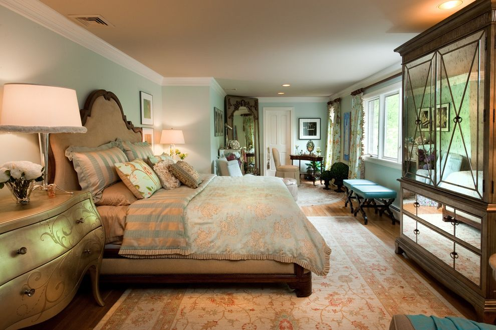 Furniture Stores Omaha with Traditional Bedroom  and Area Rug Armoire Bedside Table Chest of Drawers Dresser Empire Bench Gold Accents Green Walls Mirrored Furniture Nightstand Oriental Rug Painted Ceiling Striped Bedding White Wood Wood Molding