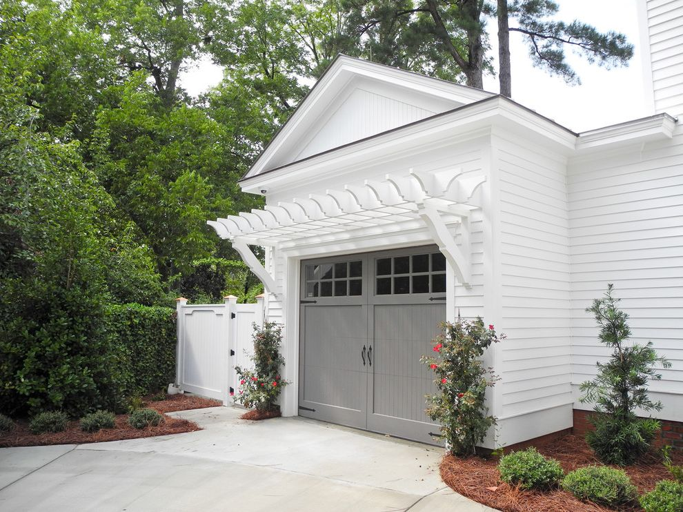 Garage Door Repair Fayetteville Nc with Traditional Garage Also Double Doors Gray Grey Landscaping Paved Driveway