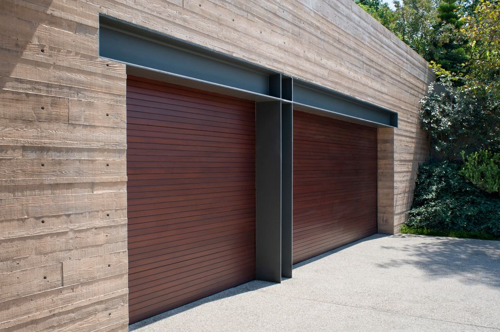 Garage Door Repair Manhattan Beach Contemporary Garage and Double Garage  Doors Exposed Steel Headers Flat Roof Garage Door Manhattan Beach Paved  Driveway Plants Two Car Garage Wood Exterior Wood Paneling |  Finefurnished.com