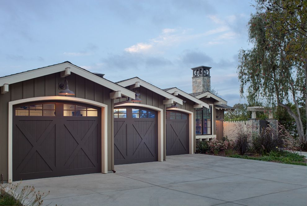 Garage Door Repair Manhattan Beach   Farmhouse Garage  and Beach Curb Appeal Equestrian Farmhouse Gooseneck Outdoor Lighting Ranch Wood Garage Doors