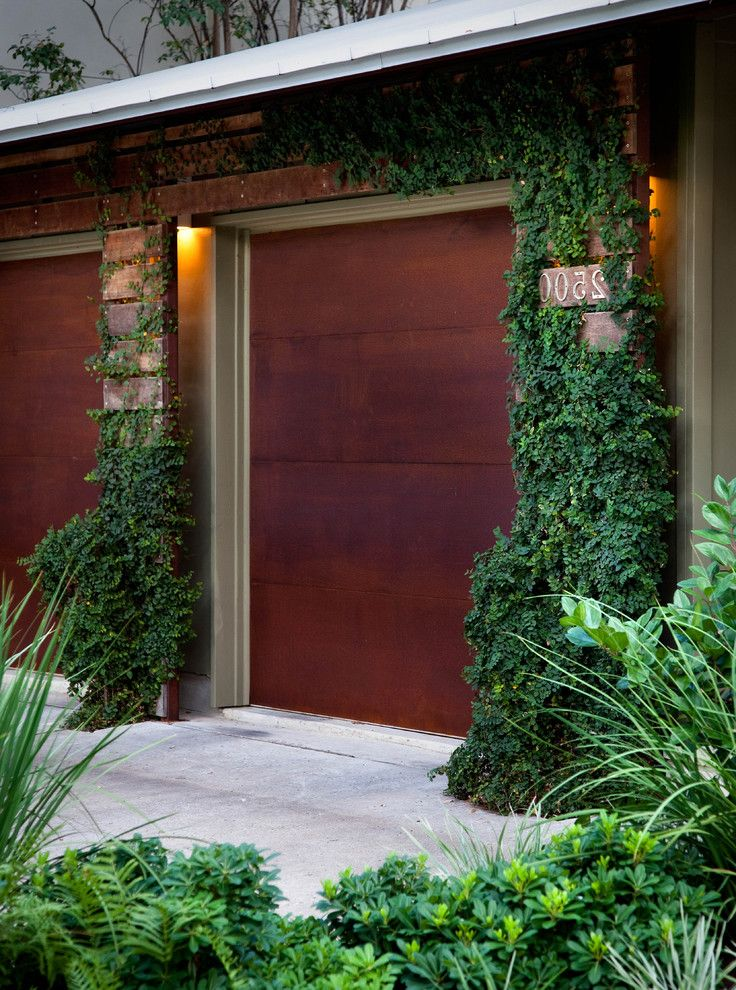 Garage Door Repair Manhattan Beach   Industrial Garage Also Bushes Concrete Driveway Door Entry Garage Garage Door House Numbers Ivy Landscape Metal Roof Outdoor Lighting Shrubs Vines Wood Exterior Wood Garage Door Wood Siding