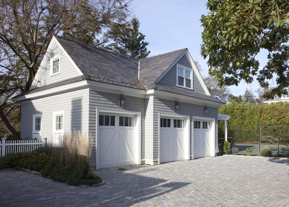 Garage Door Repair Manhattan Beach   Traditional Garage  and Carriage Doors Gray Shingle Hipped Roofs Lanterns Pavers Tall Grasses Tennis Court Three Car Garage Wall Sconce White Picket Fence White Trim