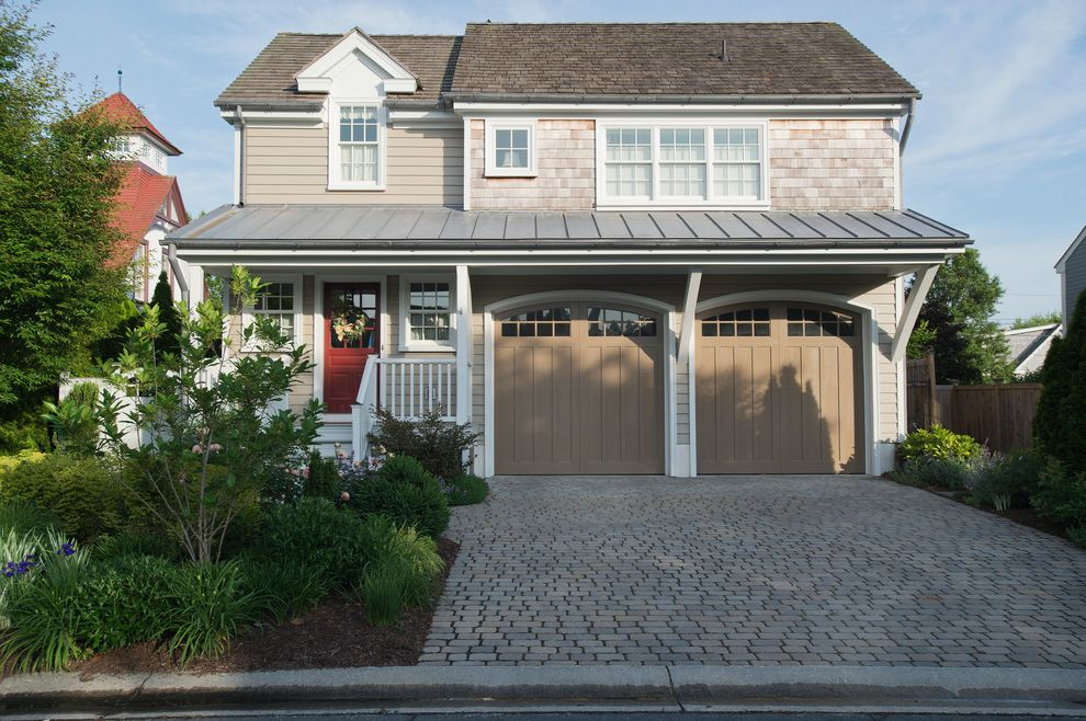 Garage Door Repair Manhattan Beach   Victorian Exterior  and Coastal Front Door with Glass Front Porch Garage Door Windows Garage Doors Gravel Sideways Metal Roof Red Door Shingle Style Stone Driveway Traditional Wreath
