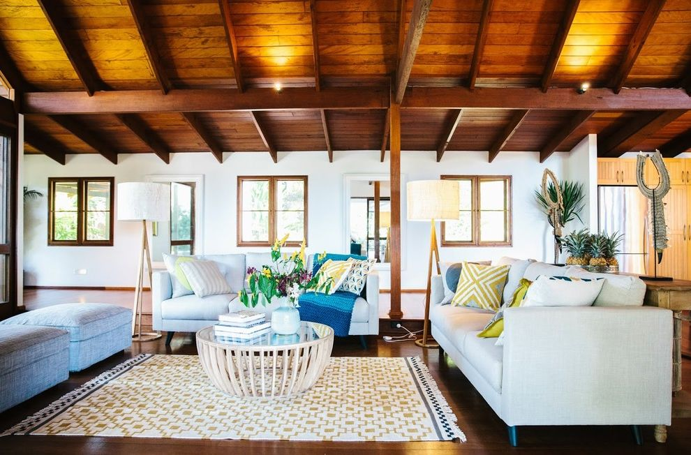 Gardiners Furniture Locations   Tropical Living Room Also Alida and Miller Have Just Completed This Stunning Home in W Colourful Interiors Contemporary Furniture Contemporary Living Room Exposed Beams Tropical