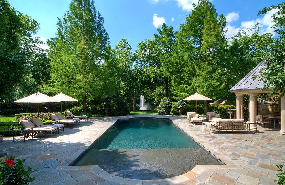 Gardner Pool Plastering   Traditional Landscape  and Aquatic Backyard Covered Patio Grass Hardscape Hedges Landscape Pavers Plants Pool Chairs Pool Tile Rectangular Pool Umbrella Water Feature