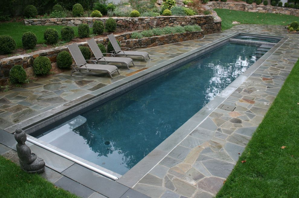 Gardner Pool Plastering with Traditional Pool  and Buddha Statue Chaise Lounge Garden Art Grass Hillside Lawn Patio Patio Furniture Pavers Planters Pool Deck Slope Stone Paving Stone Retaining Walls Terrace Turf