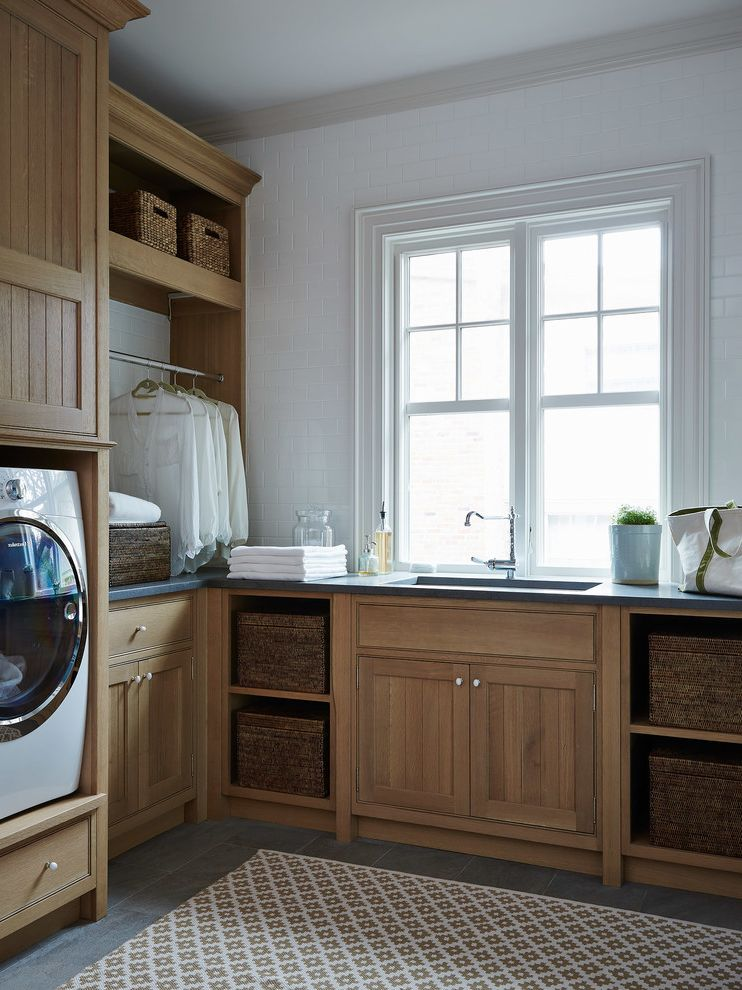 Gas Dryer vs Electric   Beach Style Laundry Room Also Double Hung Window Soapstone Countertop Subway Tile Wall Tile Wall