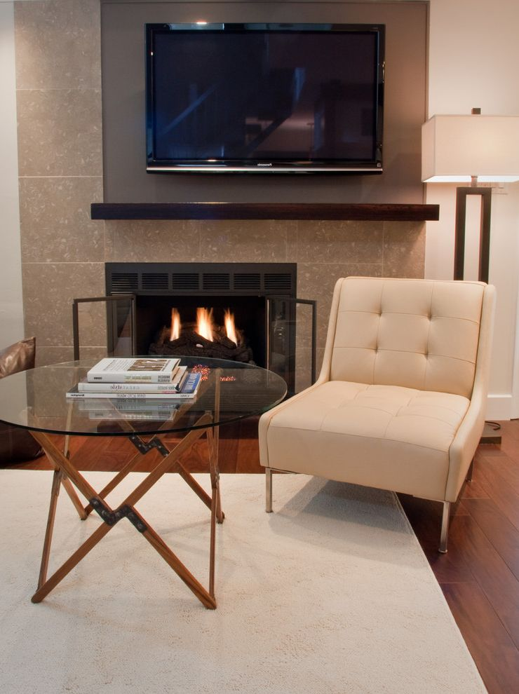 Gas Dryer vs Electric   Eclectic Living Room  and Accent Table Fireplace Gas Fire Glass Table Lamp Leather Chair Mantel Tile Tile Surround Tv Wood Floor