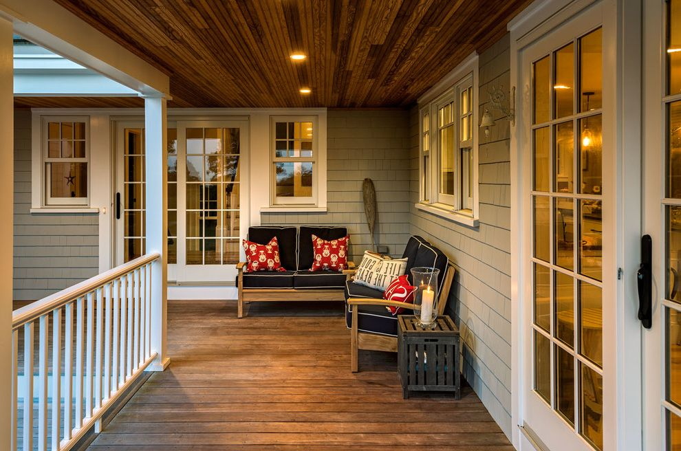 Gas Porch Light   Beach Style Porch Also Beach Cottage Cape Cod Style Covered Porch Douglas Fir Bead Board Douglas Fir Ceiling Shingled Farmhouse Vacation Home Whole House Remodel Wraparound Porch