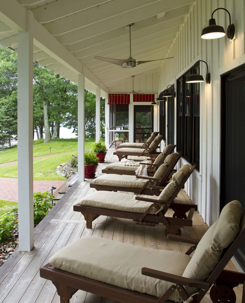 Gas Porch Light with Rustic Porch  and Board and Batten Cabin Ceiling Fan Chaise Longue Chaise Lounge Cottage Deck Farmhouse Lake House Lanterns Outdoor Cushions Patio Furniture Rustic