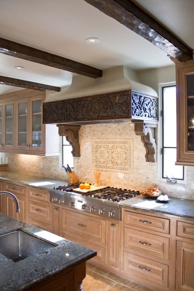 Gas Range Tops   Rustic Kitchen  and Casement Windows Ceiling Lighting Decorative Range Hood Exposed Beams Range Hood Rangetop Recessed Lighting Rustic Spanish Colonial Stainless Steel Appliances Tile Kitchen Backsplash