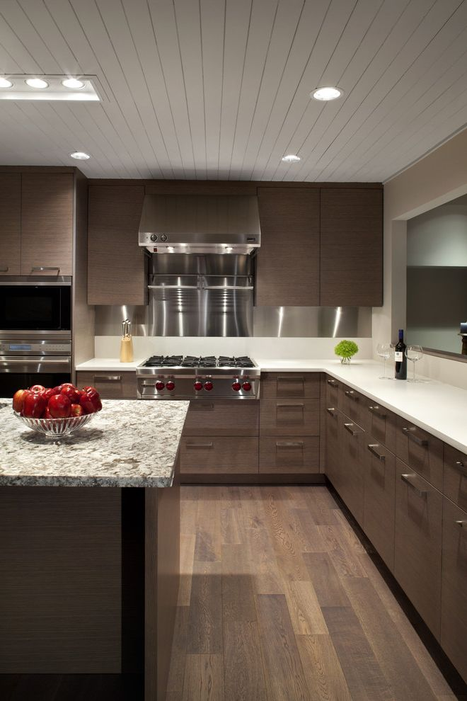 Gas Range Tops with Contemporary Kitchen  and Corian Dark Cabinet Granit Countertop Kitchen Island Oven Hood Range Hood Sophisticated Stainless Shell Backsplash Stainless Steel Stainless Steel Range Hood Wood Ceiling