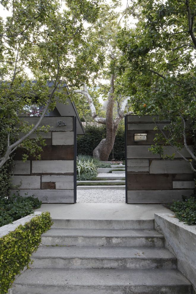 Gate Repair Brooklyn   Midcentury Landscape  and Drought Tolerant Front Gate Gravel Indoor Outdoor Living Ipe Wood Deck Meadow Meandering Paths Outdoor Dining Play Reclaimed Wood Riparian Secret Garden Sensory Syncamore Textural Warm Modern