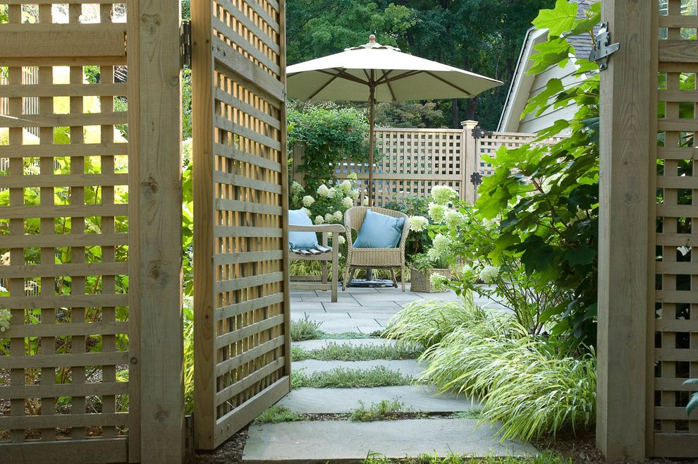 Gate Repair Brooklyn   Traditional Patio  and Cottage Garden Lattice Outdoor Cushions Path Patio Furniture Patio Umbrella Pavers Stone Paving Walkway Wicker Furniture Wood Fencing Wooden Gate