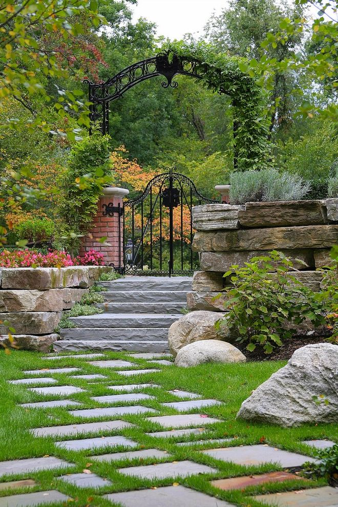 Gate Repair Brooklyn with Traditional Landscape Also Backyard Belgium Block Bluestone in Lawn Boxwood Parterre Brick Wall Custom Iron Gate and Arch Iron Gate Lawn Pavers Rosemary Secret Garden Stacked Stone Stone Steps Vine