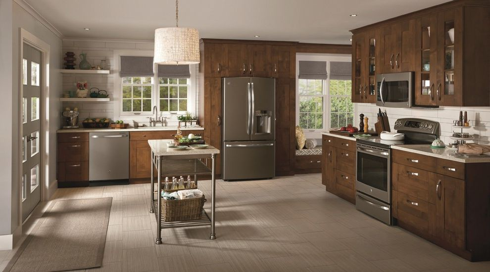 Ge Adora Refrigerator with Transitional Kitchen  and General Electric New Colors Slate Stainless Steel