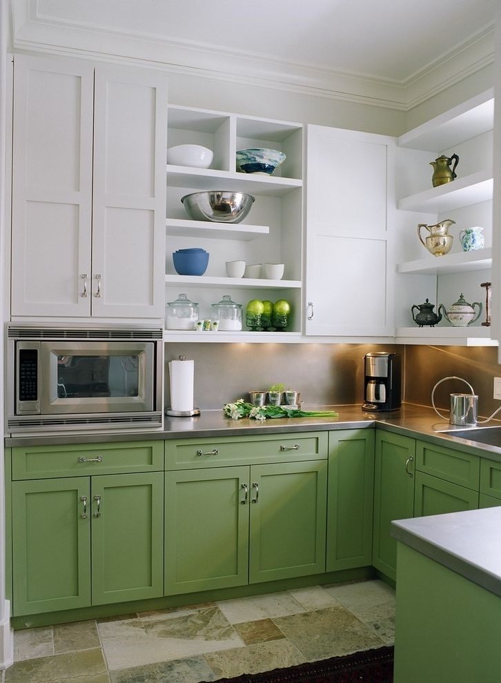Ge Under Counter Microwave   Traditional Kitchen  and Built in Microwave Crisp White Cabinetry Crown Molding Frame and Panel Open Shelving Sage Green Soft Green Cabinetry Stainless Counter Stainless Steel Stone Tile Floor U Kitchen