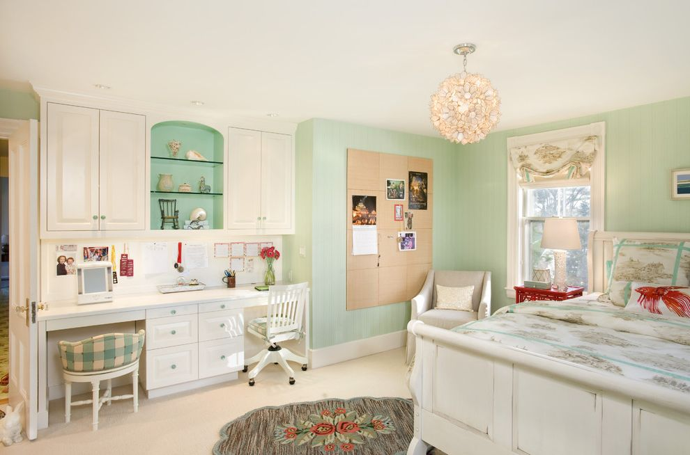 Gentle Giant Movers with Beach Style Kids  and Bedroom Bedroom Desk Built in Desk Bulletin Board Capiz Chandelier Green Walls Memo Board Red Accent White Bed White Cabinets Wood Desk