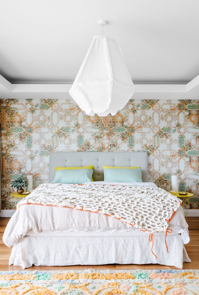 Gentle Giant Movers with Contemporary Bedroom  and Colorful False Ceiling Tray Ceiling Tufted Headboard Wallpaper Yellow Side Tables