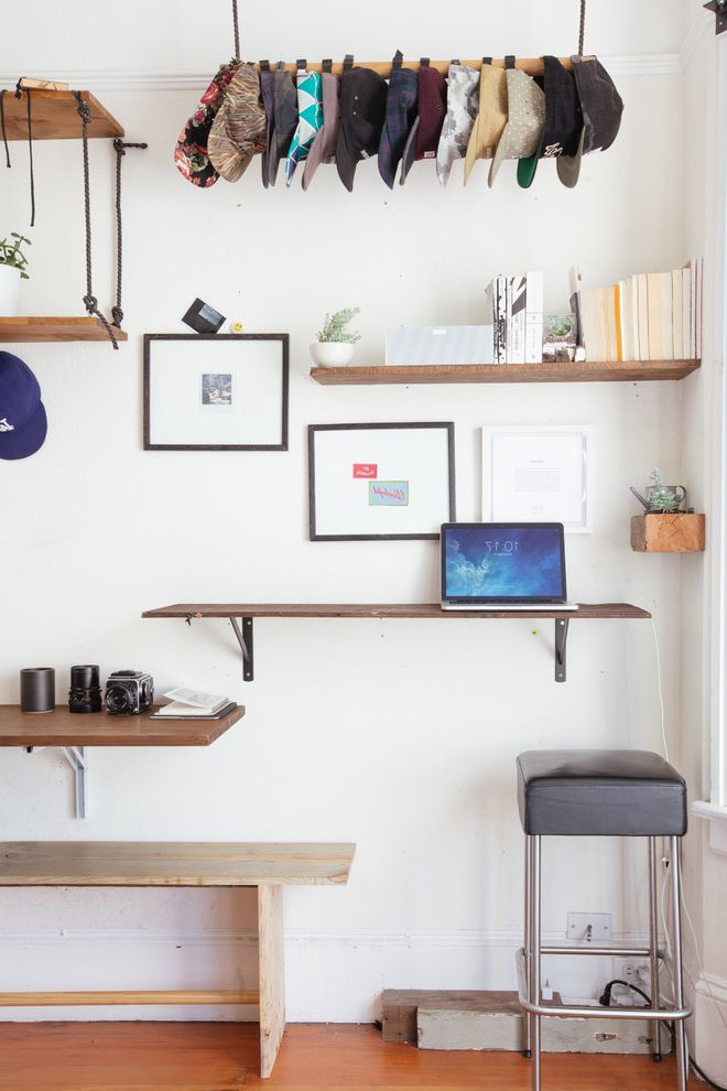 Georges Tool Rental with Eclectic Home Office  and Bar Stool Craftsman Diy Floating Desk Floating Shelves Hat Rack Hat Storage Industrial Laptop Desk My Houzz Open Shelves Open Shelving White Wall Wood Bench