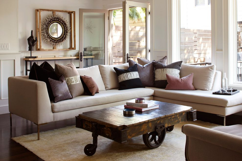 Ghost Coffee Table with Eclectic Living Room  and Double Door Repurposed Coffee Table Round Mirror Sectional Couch