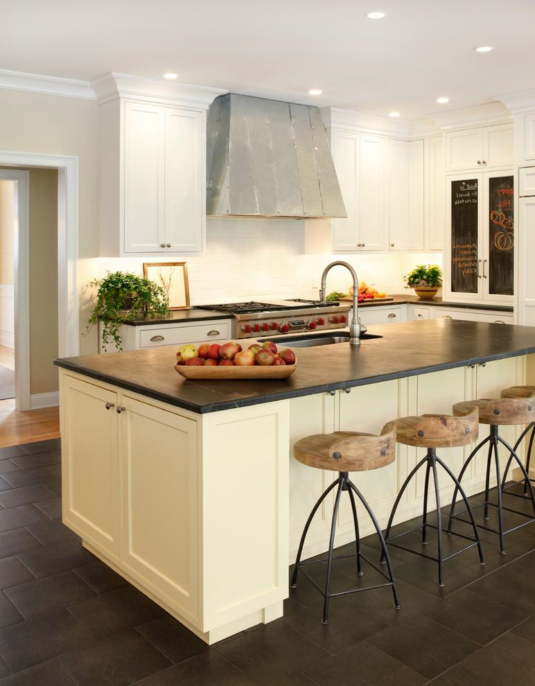 Ghost Counter Stool   Transitional Kitchen Also Blackboard Counter Stools Metal Hood Recessed Lighting Slate Floor Soapstone Counters Subway Tile Waterstone Faucet White Trim Wood Counters Wood Stools