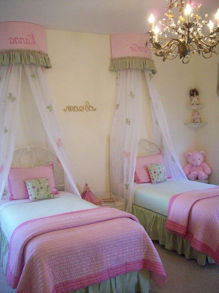 Girl Canopy Bedroom Sets   Traditional Kids  and Bedroom Butterflies Canopy Bed Chandelier Decorative Pillows Monogram Mosquito Net Pink and Green Bedding Throw Pillows Twin Beds Wall Letters Wrought Iron Bed