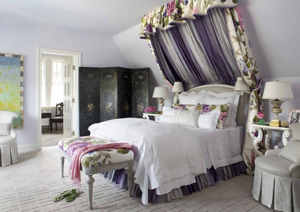 Girl Canopy Bedroom Sets with Traditional Kids Also Bed Canopy Bed Crown Bedroom Bedside Table Changing Screen End Table Floral Upholstery Folding Screen Girls Room Lavender Walls Purple Walls Reading Lamp Side Table Wall Art Wall Decor White Bedding