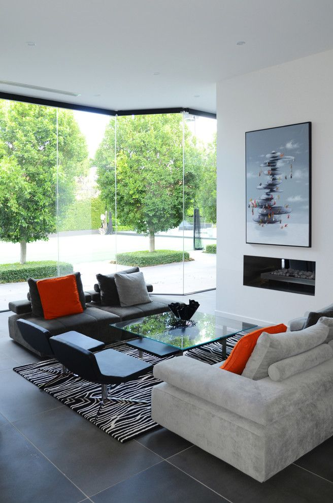 Glass Doctor Cleveland   Contemporary Living Room Also Black and White Rug Glass Cocktail Table Glass Wall Gray Couch Renovation