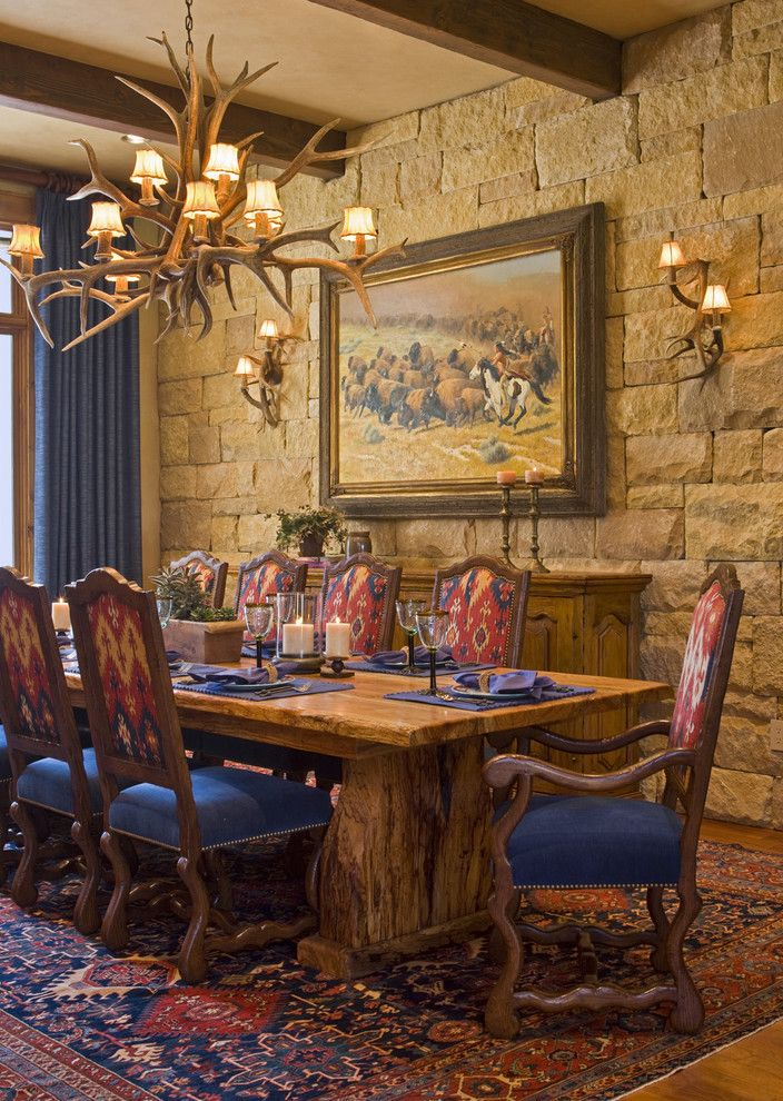 Glasses Corpus Christi   Rustic Dining Room Also Antler Chandelier Area Rug Buffet Exposed Beams Oriental Rug Sconce Sideboard Stone Wall Table Setting Trestle Table Upholstered Dining Chairs Wall Lighting Wood Dining Table