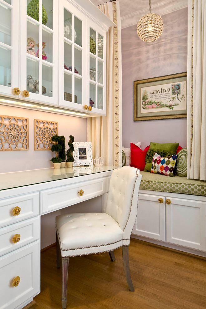 Glasses Corpus Christi   Traditional Home Office  and Built in Bench Colorful Pillows Desk Nook Floral Knows Glass Cabinets Globe Chandelier Green Bench Cushion Purple Wall Unique Knobs White Bench White Cabinet White Desk Wood Floor Yellow Knows