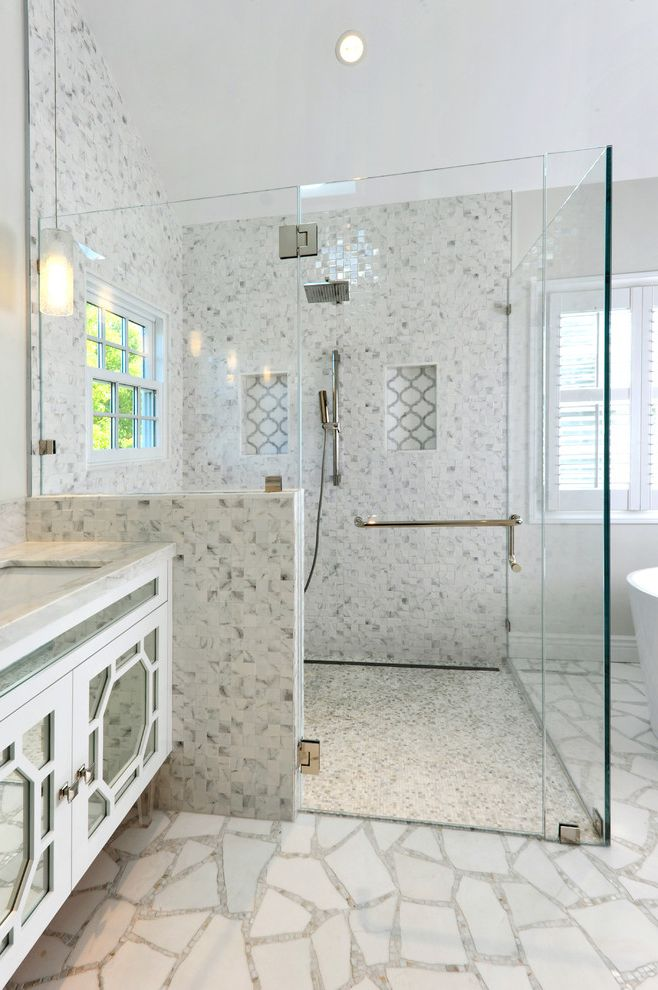 Glazzio Tiles   Contemporary Bathroom  and Accent Tile Bright Bathroom Curbless Shower Frameless Shower Door Hanging Pendant Master Bathroom Mirrored Cabinet Mosaic Floor Shower Tile Shower with Bench White Bathroom White Cabinets