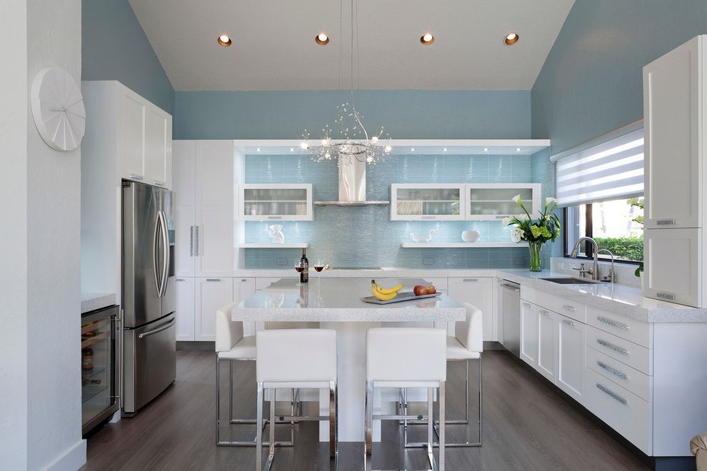 Glazzio Tiles   Contemporary Kitchen  and Chandeliers Flower Arrangement Kitchen Appliances Kitchen Island Lighting Open Shelves Periwinkle Blue Recessed Lighting Tall Ceilings Wall Clock White Chairs White Kitchen Windows