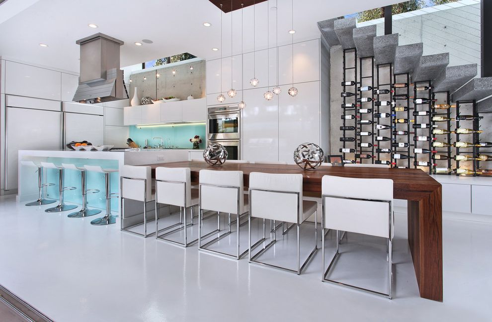 Global Wine Cellars   Contemporary Kitchen Also Bright Clean Dining Room Glossy Cabinets Glossy Floor High Ceiling Large Kitchen Open Pendant Lighting Recessed Lighting Waterfall Kitchen Island White Cabinets Wine Rack