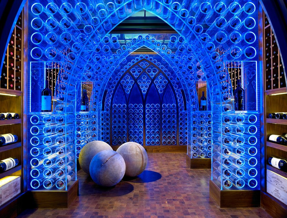 Global Wine Cellars   Contemporary Wine Cellar  and Acrylic Arch Blue Built in Shelves Built in Storage Cellar Custom Flooring Gothic Led Mosaic Mosaic Tiles Nashville Wine Wine Cellar Wine Racks Wine Storage Wood Wood Flooring Wood Tiles