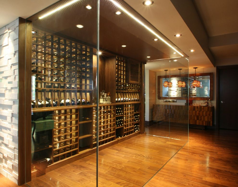 Global Wine Cellars   Modern Wine Cellar  and Bar Basement Climate Contemporary Glass Luxury Modern Temperature Toronto Walnut Wine Cellar Wine Racking Wine Racks Wine Room Wine Shelves Wine Storage Wood Wood Floor